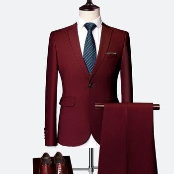 Two Piece Set ( Jacket + Pants ) Fashion Boutique Solid Color Men Casual Business Suit Groom Wedding Dress Stage Banquet Suits 1