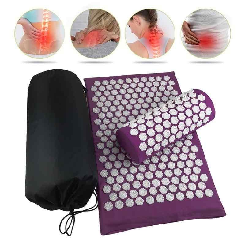 Masseur coussins Lotus tapis d'acupression oreiller tapis de Yoga soulager les maux de dos tapis de pointe tête cou pied Anti-stress aiguille masseur