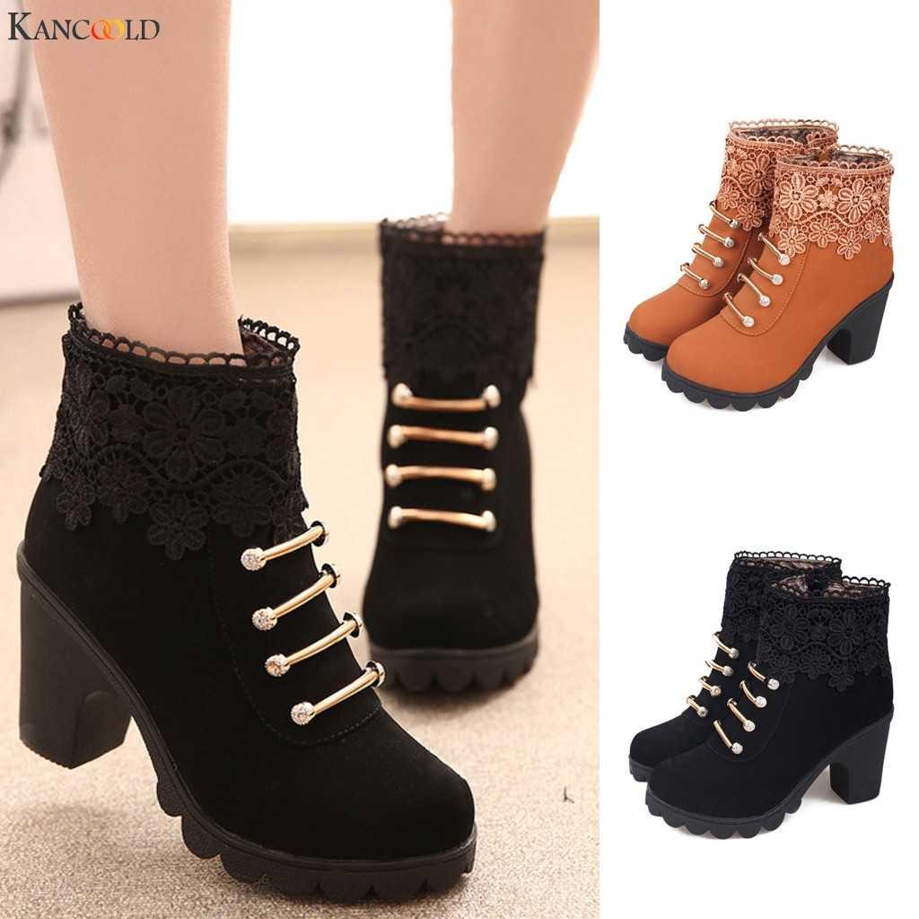 KANCOOLD kış kadın botları 2019 bayan botları kadın sonbahar kış Vintage deri fermuar rahat ayak bileği dantel ayakkabı kadın botları yeni