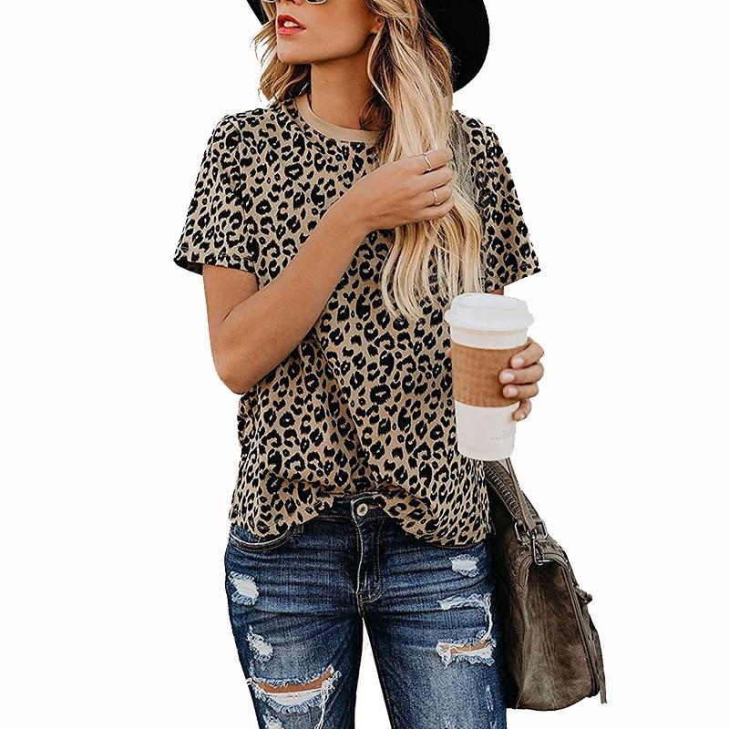 Женская леопардовая футболка ZSIIBO, Повседневная футболка с коротким рукавом, мягкая футболка