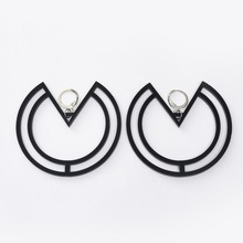 Hollow Geometric Stud Earrings Acrylic Women Exaggerated Night Club Hip Hop Jewelry