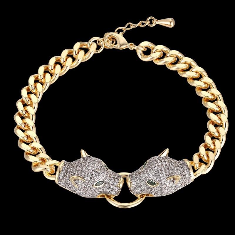 zlxgirl luxury brand leopard bracelet for men's wedding jewelry metal copper pave zircon bracelet fine couple gifts
