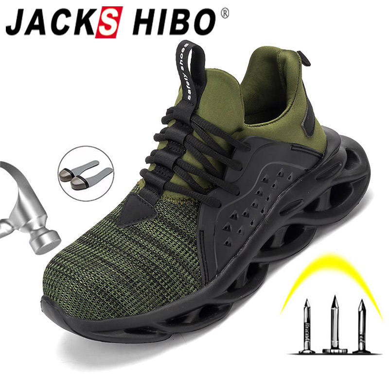 JACKSHIBO Men Work Safety Shoes Breathable Outdoor Work Boots Working Steel Toe Anti-Smashing Construction Safety Work Sneakers