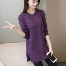 2019 Autumn Winter Long Sweater Knitwear Warm Women's Pullover O neck Thicken Plus velvet Female Soft Knit Sweater Plus size 3XL