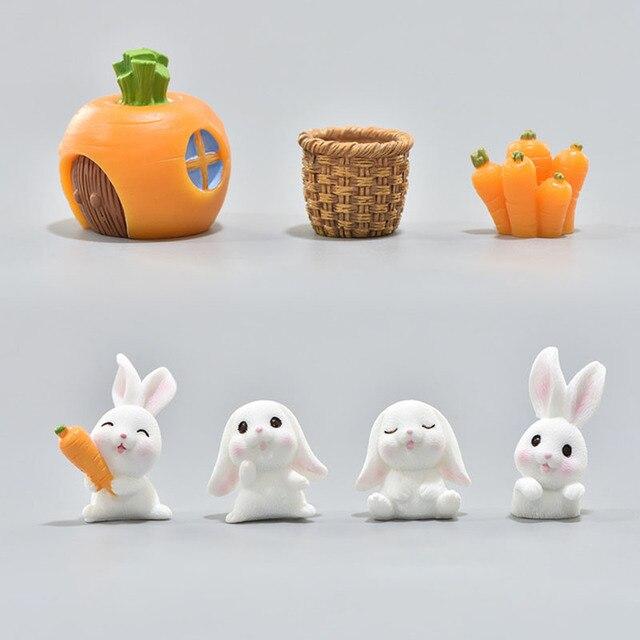 1Pcs Resin Miniatures Figurine Garden Decor Plant Ornament Cute Bunny Craft Bonsai Home Supplies Micro Landscape DIY Handmade