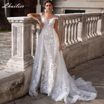 Lhuilier Elegant Lace Appliques Mermaid Wedding Dresses 2020 Short Sleeves Detachable Train Tulle V-Back Bridal Dress