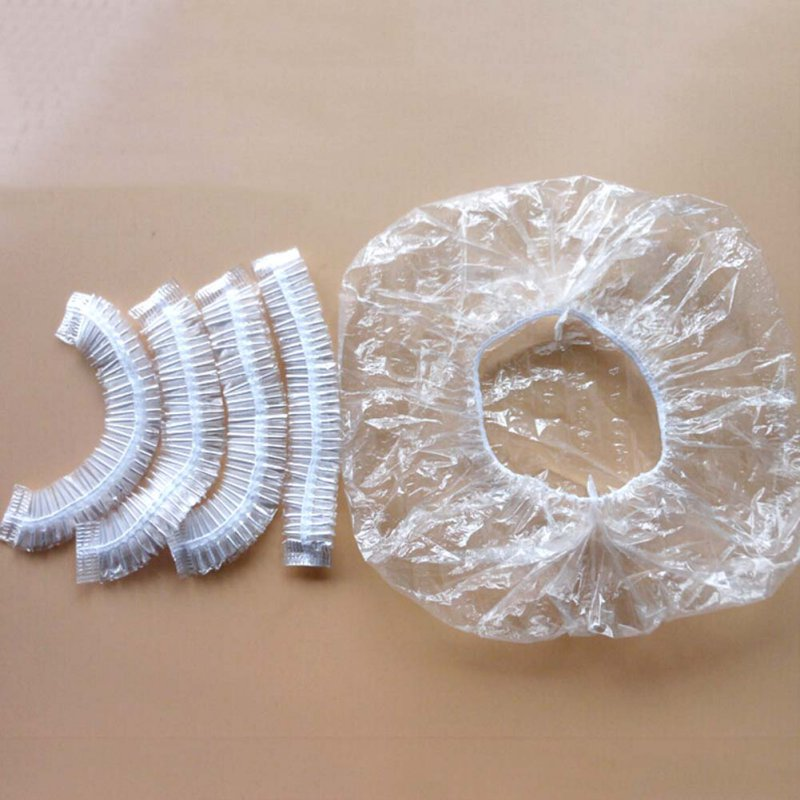 100Pcs One-off Disposable Hotel Shower Bathing Clear Hair Elastic Caps Hats Shower Caps