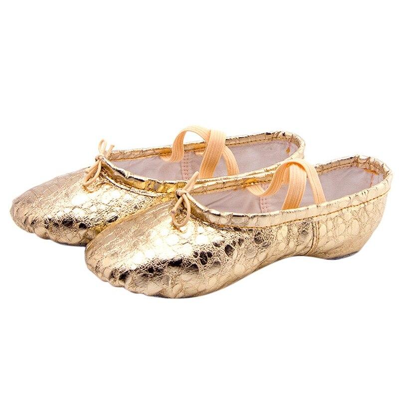 Female Soft Ballet Shoes Women Dance Shoes Pointed Slippers Gymnastics Flats Split Sole Shoes #2G29 (7)