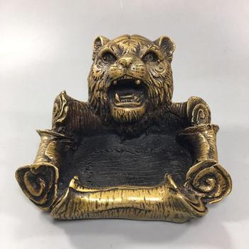 Chinese Old Copper Collection Pure Copper Tiger head ashtray