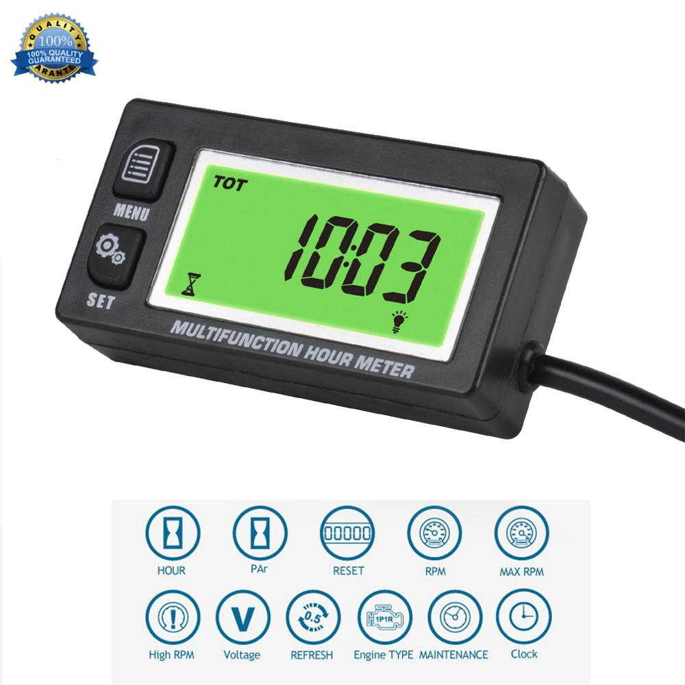 Runleader Hour Meter Tachometer,Maintenance Reminder,Alert RPM,Backlit Display,Initial Hours Setting,Battery Replaceable,Use for ZTR Mower Generator Marine ATV and Gas Powered Device. Button-Black