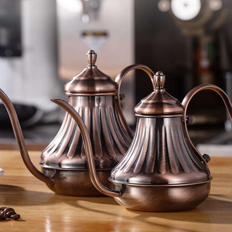 Bronze Coffee Over Drip Pot Fine Mouth Coffee Pot Long Gooseneck Spout Bronze 304 Stainless Steel DIY Coffe Maker Teapot