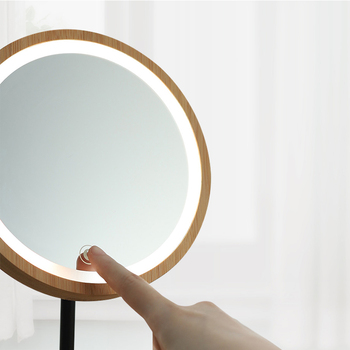 Wooden Desktop LED Makeup Mirror 3X Magnifying USB Charging Adjustable Bright Diffused Light Touch Screen Beauty Mirrors 5