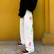 Retro Pocket Letter Print Straight Cargo Pants Men and Women Oversize Jeans Trousers Harajuku Streetwear Casual Denim Pants