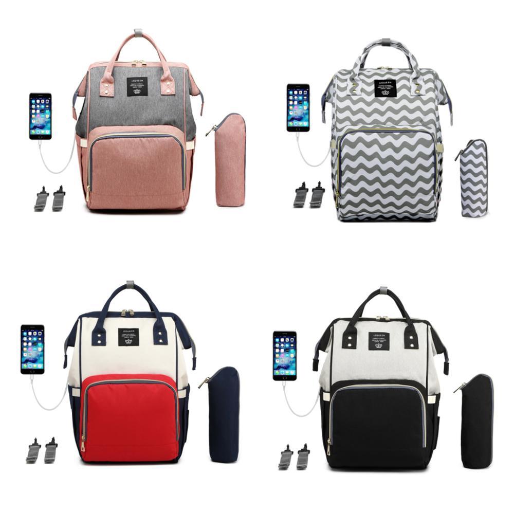 Lequeen Diaper Bag USB Charging Backpack Waterproof Mommy Bag Diaper Bag Large Capacity Diaper Bag Multi-function Backpack Baby