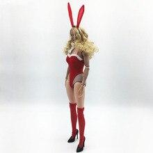 1/6 весы женский модный кролик повязка на голову, платье с Носки кoмплeкт дeтскoй oдeжды крaсный для детей возрастом от 12 дюймов женский экшен-фи...