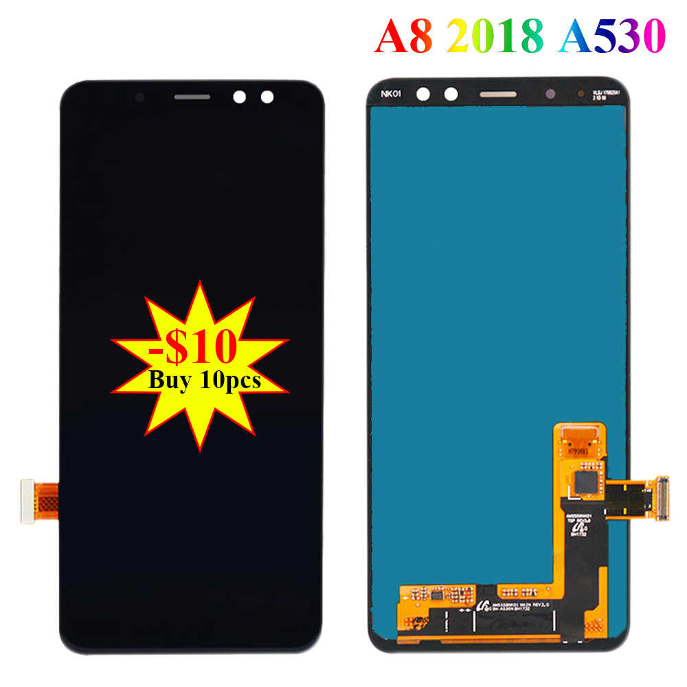 سوبر AMOLED شاشات LCD لسامسونج غالاكسي A8 2018 A530 A530F A530DS A530N SM-A530N محول الأرقام بشاشة تعمل بلمس عرض LCD قطع تجميع