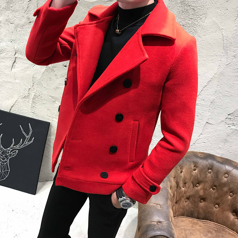 Autumn Winter Men Coat Thick Short Paragraph Solid Color Casual Woolen Coat Double-Breasted Casual Woolen Trench Coat Jacket