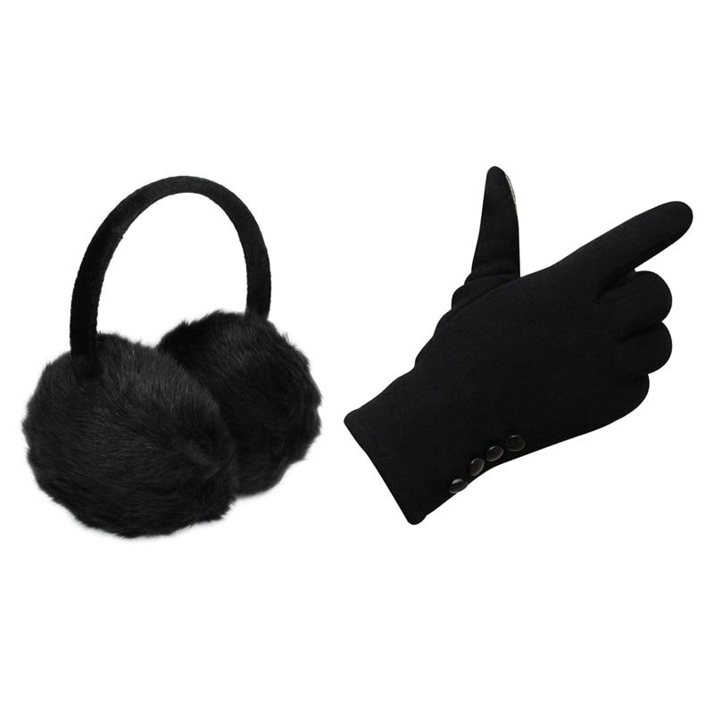 1Pcs Headband Black Faux Fur Winter Ear Cover Earmuffs & 1 Pair Womens Winter Cotton Press Screen Outdoor Sport Party Warm Glove