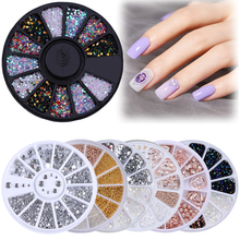 цены 2PCS/SET Nail Rhinestone AB Mixed Color Stone Irregular Beads Mini Flat Back Bottom Manicure 3D Nail Art Decoration In Wheel