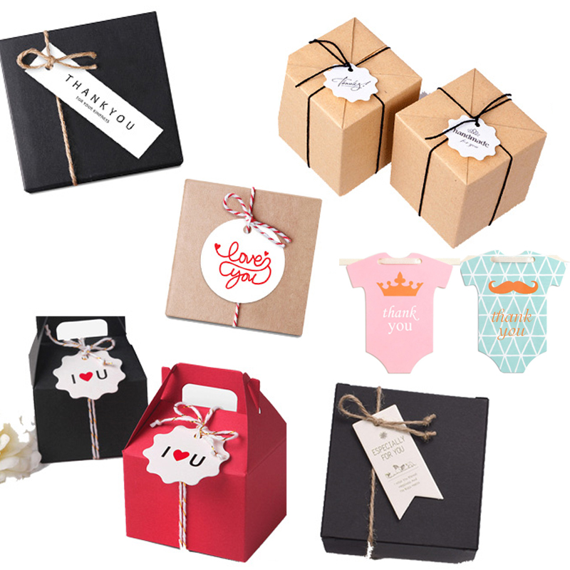 20PC Birthday Wedding Baptism Gift Box Bag Tag Small Brand Accessories Holiday Blessing Card Baby Shower Lovely Boy Or Girl