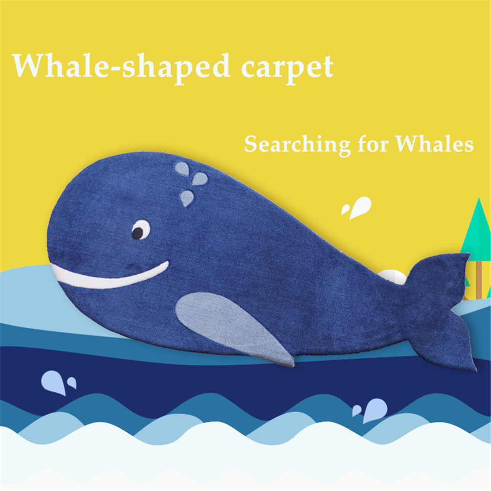 Blue Whale Fish Carpet Kids Room Cartoon Style Bedroom Rugs Baby Beside Mat Child Carpet Animals Cuddly Rug Bathroom Anti-slip