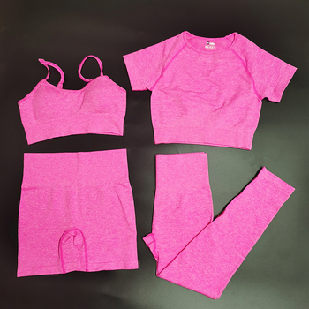 4PCS Seamles Sport Set Women Purple Two 2 Piece Crop Top T-shirt Bra Legging Sportsuit Workout Outfit Fitness Wear Yoga Gym Sets 29