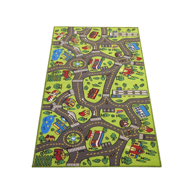 Children Road Traffic Game Mat Town City Blanket Green Road Child Play Mat Carpet For Baby Crawling Blanket Floor Carpet Rug Mat