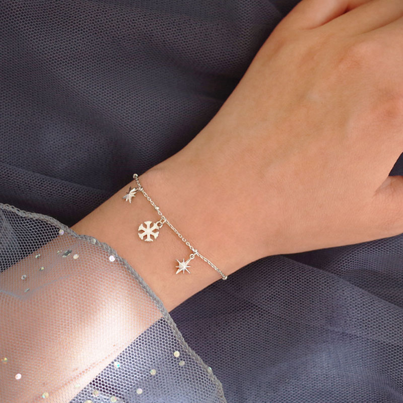 ANENJERY 925 Sterling Silber Romantische Stern Schneeflocke Armband Für Frauen Weihnachten Geschenk Perlen Kette pulseras S-B121