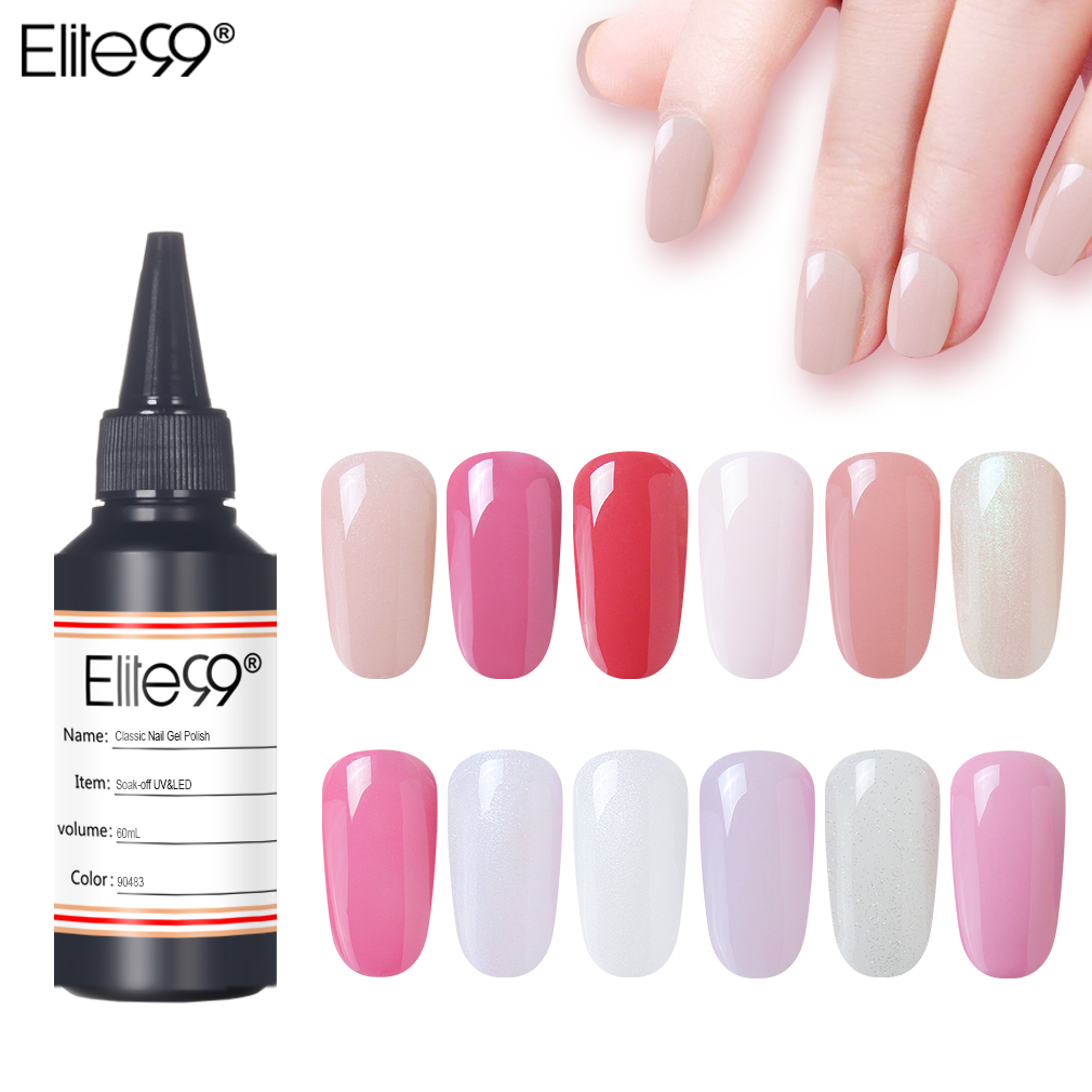 Elite99 30/60ml Pure Color Gel Polish Varnish UV LED Lamp Hybrid Nail Glitter Series UV Gel Varnish Nail Art Manicure Gel