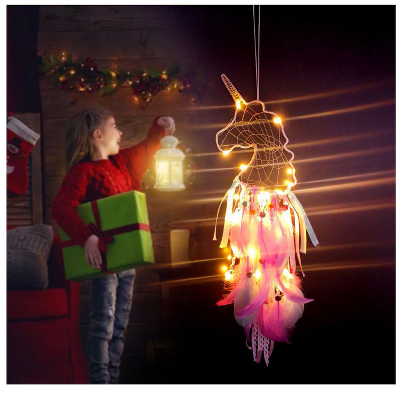 Creative Feather Unicorn Night Light Dream Catcher Ornaments For Room Wall Hanging Decor Unicorn Small Pendant
