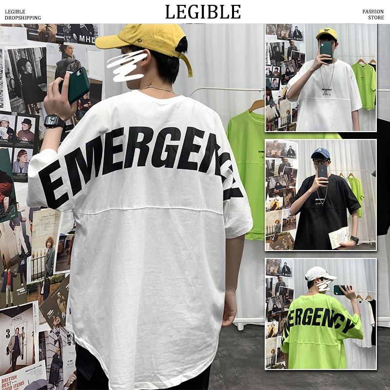LEGIBLE Men T-shirts Harajuku 2020 Mens Hip Hop Cotton Casual Letter Printed T-shirts Male Japan Korean Short Sleeve Summer Tees