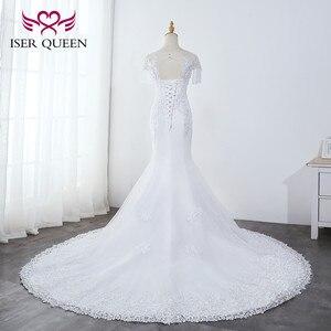Image 2 - O neck pesado beading sereia vestido de casamento branco puro borla vestido de noiva bordado tule rendas até vestidos de casamento wx0042