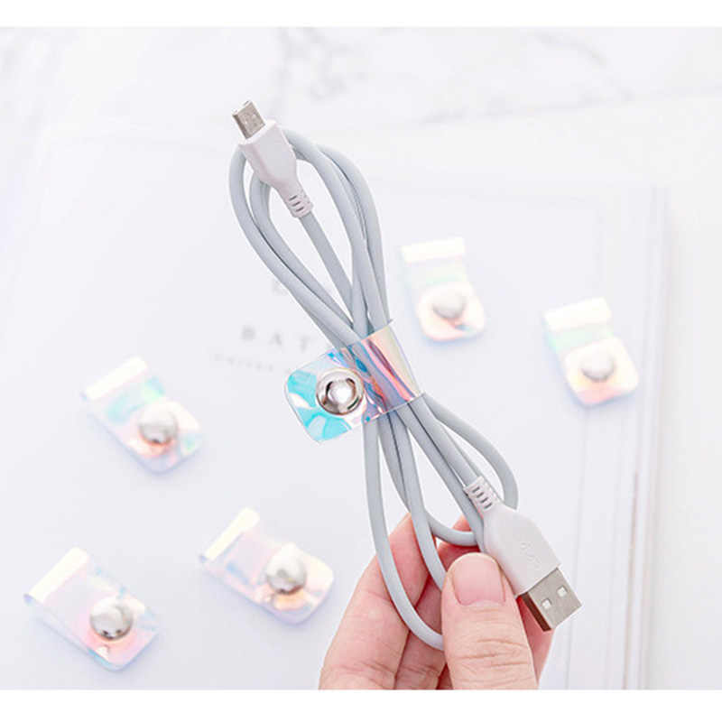 Przezroczyste laserowe akcesoria podróżne oplot na kable ochraniacz słuchawki USB uchwyt na telefon organizator klamra akcesoria Packe Organizer
