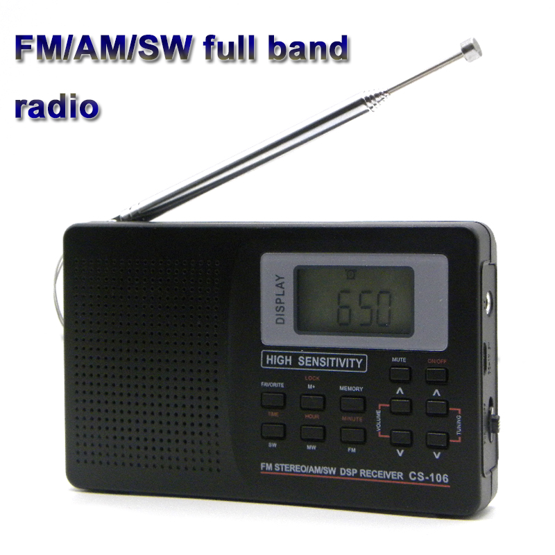 Full <font><b>Band</b></font> <font><b>Radio</b></font> Portable FM/AM/SW DSP <font><b>Radio</b></font> Receiver with LED Display 3.5mm Earphone Support Timing Alarm Clock Display 9K/10K image