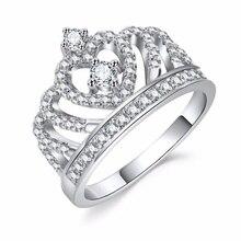 Модные серебряные кольца, Кристальные кольца в форме сердца, Женская корона, циркониевое кольцо, ювелирные изделия, женские вечерние Обручальные кольца