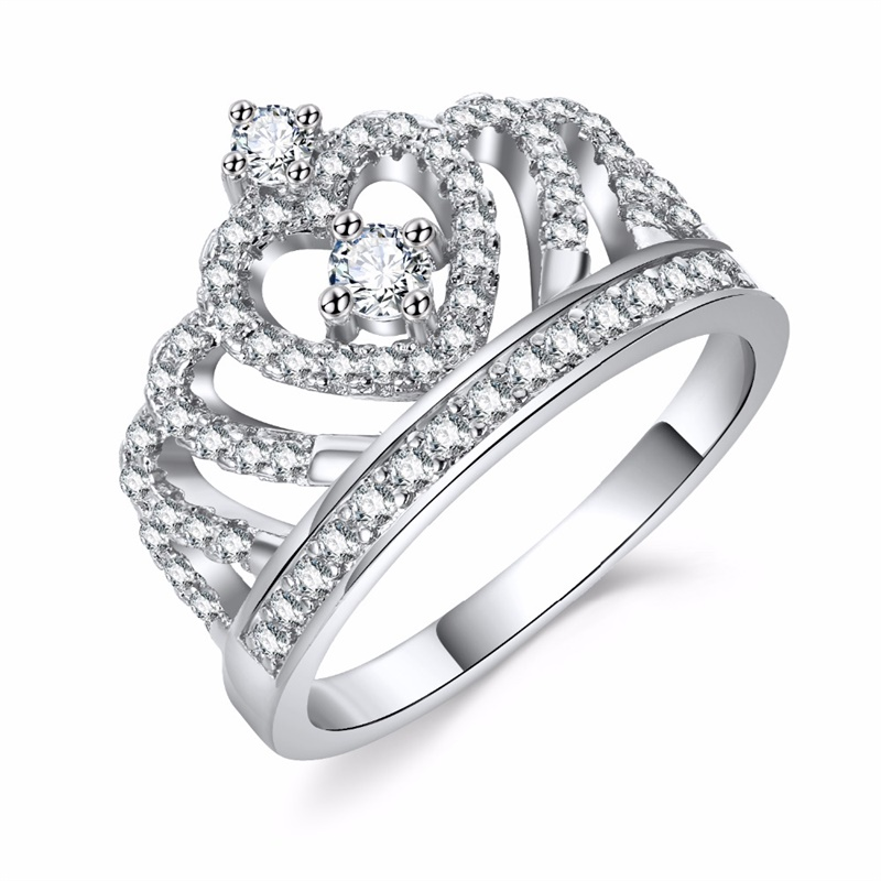 Fashion Silver color Rings Crystal Heart Rings Women's Crown Zircon Ring Jewelry Women's Engagement Party Wholesale