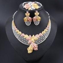 Moda afrika takı seti s marka Dubai gümüş kaplama kristal kolye küpe takı seti nijeryalı gelin boncuk takı seti