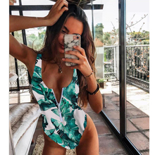 2020 New Sexy Zipper One Piece Swimsuit Women Swimwear Push Up Monokini Bodysuit Swimsuit Print Bathing Suit Summer Beachwear XL