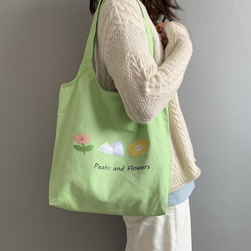 2020 Women Canvas Tote Bag Cloth Cotton Shopping Eco Reusable Foldable Shoulder Bag For Girl Handbag Casual Ladies Travel Beach