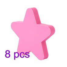 8 pçs dos desenhos animados estrela porta armário knob pvc haplopore gaveta puxador-rosa/azul/amarelo