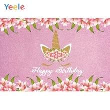 Yeele Pink Flower Unicorn Birthday Backdrop Newborn Baby Shower Kids Party Custom Vinyl Photography Background For Photo Studio