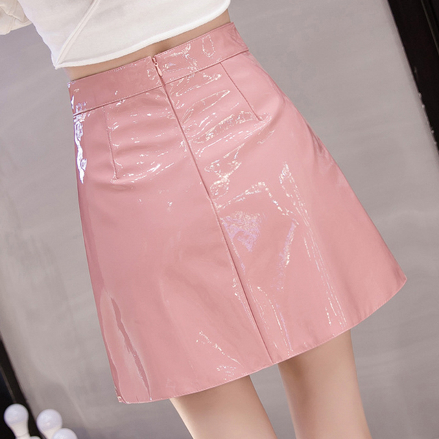 QRWR 2021 Spring Summer Women Skirt High Waist Solid Color Mini Skirts Straight PU Leather Shiny Club Cute Sexy Skirts for Women 1