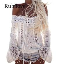 Rubilove Womens White Lace Blouses Summer Ladies Fashion Long Flare Sleeve Off Shoulder Shirts Women Casual Tops Blouse