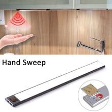 Usb recarregável alimentado led cozinha luz ímã instalação mão varredura sensor lâmpada para armário armários armário 20/40cm