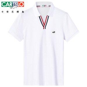 Image 4 - Dzys 2018 남성용 v 넥 폴로 셔츠 남성용 패션 셔츠 남성 3021
