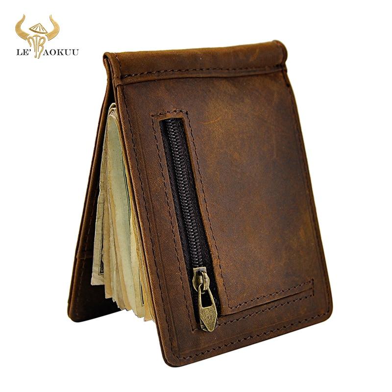 Male Genuine Leather Design Fashion Slim Wallet Front Pocket Money Clip Mini Purse For Men 1098