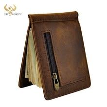 Masculino design de couro genuíno moda fino carteira frente bolso clipe de dinheiro mini bolsa para homem 1098