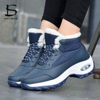 Women's Winter Warm Outdoor Sports Shoes Plus Cotton Waterproof Anti skiing Walking Shoe Ladies Girl Plush Sneakers Female Shoes