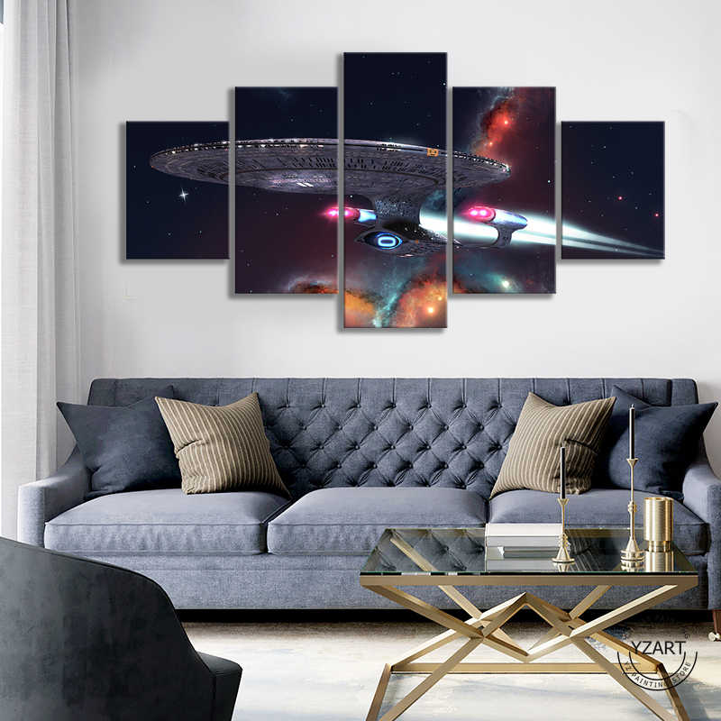 5pcs Universe Spaceship Fantasy Art Painting star trek movie poster HD Canvas Wall Art Paintings for Living Room Wall Decor