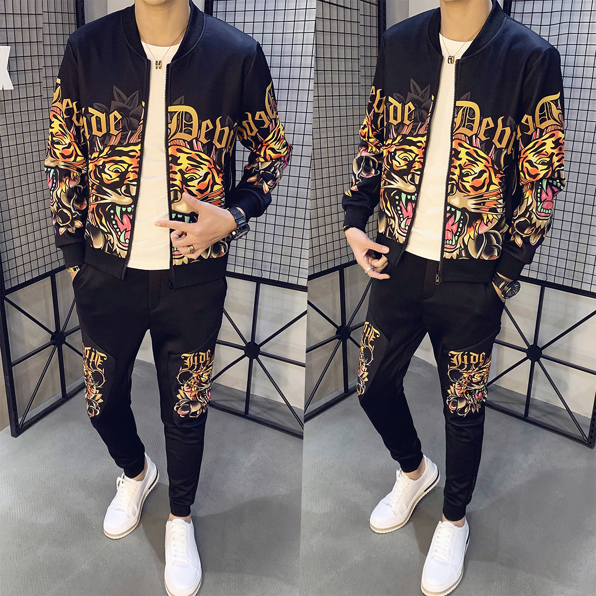 2020 Men Track Suit Jacket Sweatsuit Mens Sports Suits Casual Streetwear Social Sportwear Tiger Print Tracksuit Plus Size M-5XL